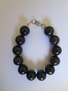 Black Bead Bracelet by DreamersUnLtd on Etsy
