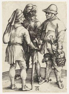 Drie boeren in gesprek, Albrecht Dürer, 1495 - 1499