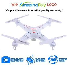 Amazingbuy  Syma X5C1 24Ghz 6Axis Gyro RC Quadcopter Drone UAV RTF UFO with HD Camera  New Updated Upgraded Version X5C1 Smaller Packing Orginal Box  4 additional Propellers  4GB Memory Card  Card Reader  2 Batteries  Tracking Number ** Learn more by visiting the image link.Note:It is affiliate link to Amazon.