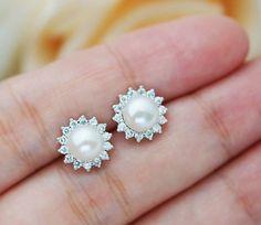 Wedding Jewelry Bridal Earrings Bridesmaid Earrings Cubic zirconia ear posts with white shell based pearl Earrings Pearl Jewelry