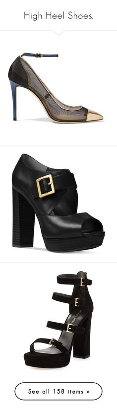 """""""High Heel Shoes."""" by plaraa on Polyvore featuring shoes, pumps, heels, high heel stilettos, pointed toe high heel pumps, strap pumps, leather pumps, high heel shoes, black y black strap pumps"""