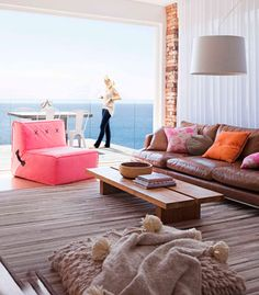 Great view, great styling with a pop of color