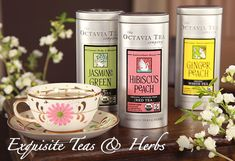 #AshleyKoffApproved The Octavia Tea Company's organic teas (pomegranate, ginger peach, jasmine pearl, hibiscus peach, orange flower, jasmine green) for healthy hydration!