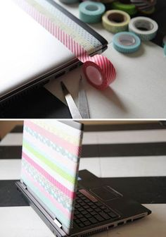 Cute and Easy DIY Washi Tape Project | DIY Cute Laptop Cover by DIY Ready at http://diyready.com/100-creative-ways-to-use-washi-tape/