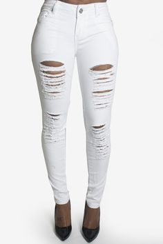 White Extreme Distressed Rip Detail Skinny Jeans | My kinda style ...