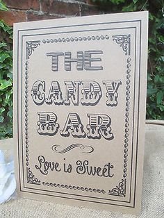 The Candy Bar Sign Love is Sweet A4 Size Poster Shabby Chic Kraft Recycled Card