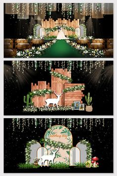 Fantasy green forest wedding effect map Wedding Backdrop Design, Wedding Stage Design, Wedding Reception Backdrop, Wedding Arch Rustic, Wedding Stage Decorations, Backdrop Decorations, Rustic Theme, Backdrops, Wedding Mandap