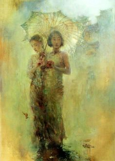 The Umbrella — framed: 54 in. x 42 in. unframed: 42 in. x 30 in. media: oil on canvas SOLD (giclee on board available)