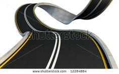 stock photo : bent highway isolated on white