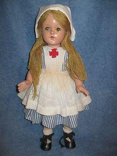 Vintage WWII Effanbee Little Lady Doll Yarn Hair 18 Red Cross Nurse Composition