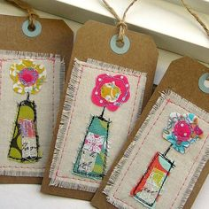 Tag Embellishments Scrapbook Tag Gift Tag Sewn by tracyBdesigns, handmade gifts Free Motion Embroidery, Machine Embroidery, Card Tags, Gift Tags, Sewing Crafts, Sewing Projects, Fabric Cards, Tag Art, Craft Fairs