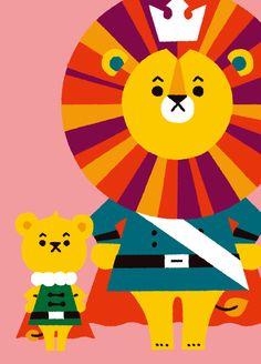 Animals 02 by Shunsuke Satake, via Behance Lion Illustration, Character Illustration, Graphic Design Illustration, Japanese Design, Illustrations And Posters, Design Art, Character Design, Retro, Artwork