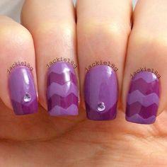 Purple chevron nail art
