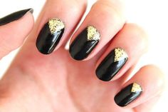Shiny, Black Nails, glitter half moons, false nails, press on nails Red And White Nails, Black Nails With Glitter, Black Nail Art, Glitter Nail Art, Black Polish, Dot Nail Designs, Fall Nail Designs, Triangle Nail Art, Nail Color Combinations