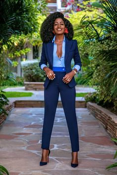 Style pantry fitted blazer button-down contrast waist pants Classy Work Outfits, Office Outfits Women, Business Casual Outfits, Business Attire, Office Clothes For Women, Corporate Attire Women, Corporate Wear, Work Clothes, Fashion Mode