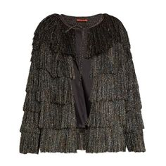 Missoni Collarless tiered-fringe jacket (£1,645) ❤ liked on Polyvore featuring outerwear, jackets, black multi, shrug jacket, shrug cardigan, cardigan shrug, collarless jacket and slim jacket