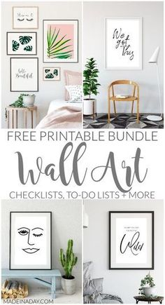 Free Printable Wall Art Bundle wall art gallery wall printables gallery wall printable sayings printable quotes palm monstera palm blush palm sleep on it be beautiful sta. Free Printable Art, Free Printables, Printable Quotes, Diy Wall Art, Framed Wall Art, Diy Art, Free Prints, Wall Art Prints, Style Minimaliste