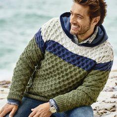 Cableados Crewneck suéter de los hombres suéter de cuello v