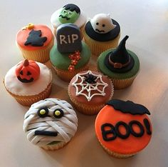 Some fun Halloween cupcake decorating ideas. It looks like they're using fondant on some of these. Love the mini pumpkin! www.moderncrowd.com/food-sculptures