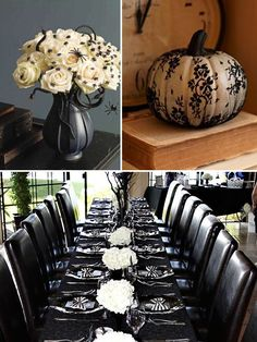 Stunning & elegant. Halloween Wedding Decor | Calligraphy by Jennifer ***I would LOVE to help a wedding couple recreate this look or something similar. Contact me 3042606446 or BloomedToLast.com***