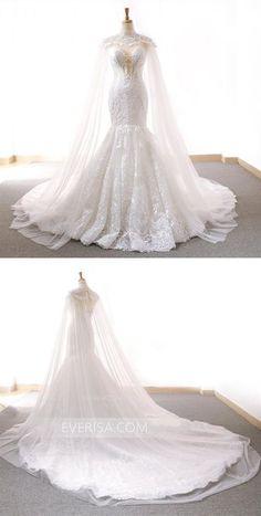 a3314c5d823f9 High Neck Sleeveless Mermaid Wedding Dresses