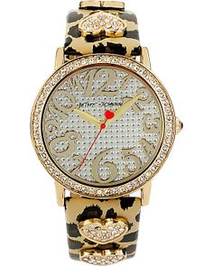 HEARTS IN LEOPARD BAND WATCH LEOPARD accessories jewelry watches fashion