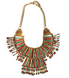 Bohemian Bib Necklace,Red Turquoise Gold Bib Necklace,Nepal Necklace,Statement Jewelry,Tribal Jewelry,Tibet Necklace,Cleopatra by Taneesi by taneesijewelry on Etsy