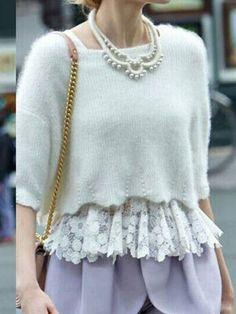 White Beaded Angora Sweater with Lace Peplum Vest Lining | Choies