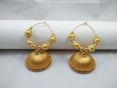 Bali Jhumka with high quality glass pearls!!! Jhumka size as per pic large For order whatsapp in 8971045612