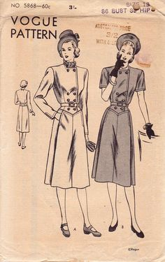 Vogue 5868 40s Double Breasted Womens Coat Dress RARE Vintage Sewing Pattern Bust 36 inches UNUSED Factory Folded