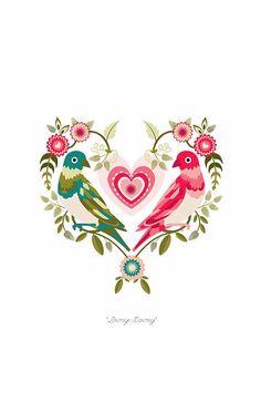 Valentines by Charlotte Day, via Behance Gravure Illustration, Digital Illustration, Love Birds, Beautiful Birds, Cartoons Love, I Love Heart, Heart Art, Photo Art, Folk Art