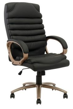 Computer Desk Office Chair PU BLACK LEATHER LUMBAR SUPPORT NEW! 011