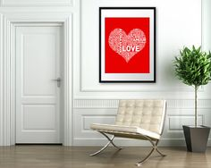 """LOVE in over 50 languages poster by etsy  Seller """"theloveshop"""""""