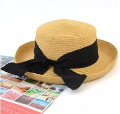 Wholesale and Retail Fashion Women Wide Brim black bow plain Summer Beach Sun Straw Hat Cap with big bow Free Shipping