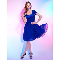 TS Couture® Cocktail Party Dress - Royal Blue Plus Sizes / Petite A-line / Princess Off-the-shoulder / Sweetheart Knee-length Chiffon / Stretch Satin – AUD $ 128.69
