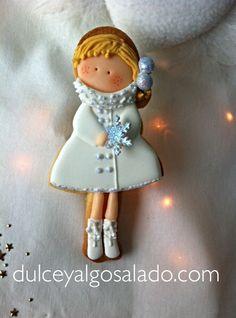Galleta decorada niña navidad2014