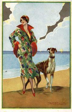 Greyhound and lady