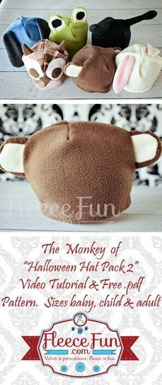 DIY Fleece Monkey Hat tutorial.  The perfect  little hat for your little monkey.  You can use this for a quick costume on Halloween night or for a fun hat your child can wear anytime.  Get the free pattern here!