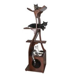 The Refined Feline Lotus Cat Tower will appeal to your cat's natural climbing instincts while blending in flawlessly with your homes elegant décor. This tower is close to 6 feet tall and includes a large sisal pad for your cats scratching enjoyment. Cool Cat Trees, Cool Cats, Cat Jungle Gym, Cat Towers, Cat Scratcher, Scratching Post, Animal Design, Sisal, Climbing