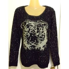 Black Tiger Sweater NEW WITHOUT TAG !! SIZE SMALL/MEDIUM Sweaters Crew & Scoop Necks