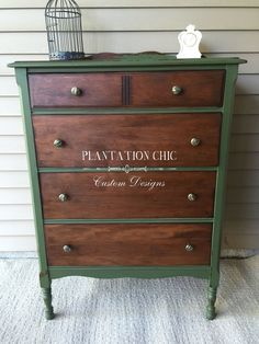 Antique chest of drawers restyled by Plantation Chic using Miss Mustard Seed Milk Paint in Boxwood and Fusion's Beeswax Finish with hemp oil.