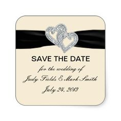 Custom Diamond Black Ribbon Save The Date Stickers #weddings