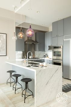 Blue-gray painted cabinets and marble countertops/backsplash...are they inside my head? @Homepolish San Francisco
