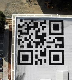 Check out the 42-foot wide QR code painted on the roof of Facebook's headquarters! Scan away!