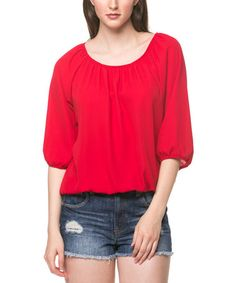 Look what I found on #zulily! Red Blouson Tee by ARIA FASHION USA #zulilyfinds