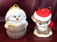 2 Vintage Jasco Bisque Porcelain Dog And Cat Bells Christmas Ornaments  | eBay