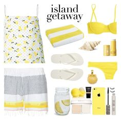 """""""Chic Island Getaway"""" by deepwinter ❤ liked on Polyvore featuring Lemlem, Piamita, J.Crew, Luxor Linens, Clinique, Roman, Kevin Jewelers, Havaianas and islandgetaway"""
