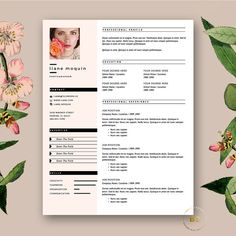 Creative, Minimalist Resume Template. Modern CV with free Cover Letter for MS Word, Feminine Resume by BotanicaPaperieShop. Blush pink and fashion feel. Creative CV.