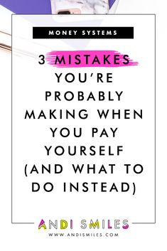 Click through to learn 3 Mistakes You're Probably Making When You Pay Yourself (and what to do instead) Business Money, Business Tips, Salon Business, Small Business Bookkeeping, Tutoring Business, Small Business Organization, Cleaning Business, Money Management, Money Saving Tips