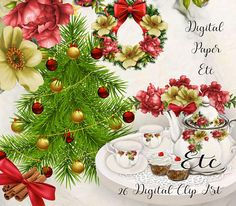 Christmas Clip Art Digital PNG Christmas Printable Clip Art